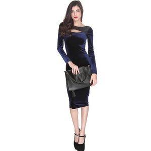 Dresses & Skirts - sexy blue velvet midi dress size small 4 xs